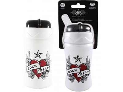 Heart /& Wings Trinkbecher mit Strohhalm Rock Star Baby Strohhalmbecher 340 ml
